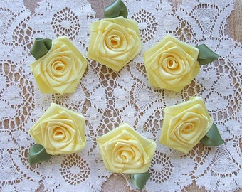 Victorian Ribbon Roses 6 LG Lemon Yellow 2in.for Boutique Designers