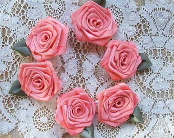 Handmade Victorian  Ribbon Roses Appliques, 6- 2 inch Coral