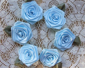 Appliques 6- 2 inch Victorian  Ribbon Roses Handmade , Baby Blue