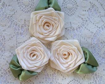 3 XL Handmade Cream Ribbon Roses Appliques