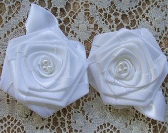 Victorian Ribbon Roses Handmade 2 - 3inch White  Pearls