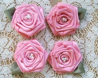 Victorian Ribbon Roses 4 - 3inch Lt.Rose  Handmade Pearls