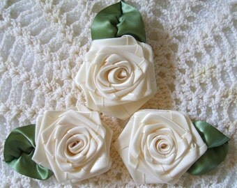 3 XLG Ivory 2-1\/2 in. Victorian Ribbon Roses for Boutique Designers