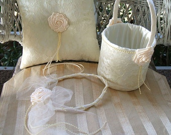 Flowergirl Basket-Halo-Ring Pillow  ENCHANTMENT Handmade Available in White or Ivory