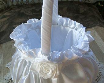 Wedding Flower Girl Basket FAITH Handmade Flowergirl in Ivory or White