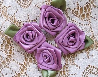 Ribbon Roses Handmade 4 Med  Victorian Lavender 1-1/2in.