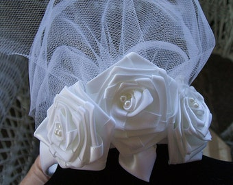Wedding Headband Handmade,Headpiece Available in White or Ivory