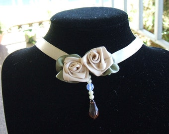 Choker, Ribbon Rose, Necklace, Handmade, Boutique, Flowergirl,