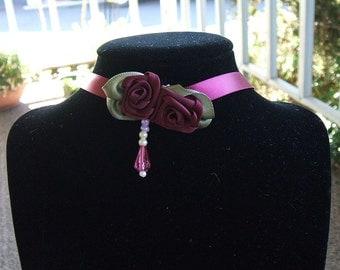 Choker Ribbon Rose Necklace Handmade