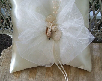 OASIS Sea Shells Ring Pillow Handmade Available in White or Ivory