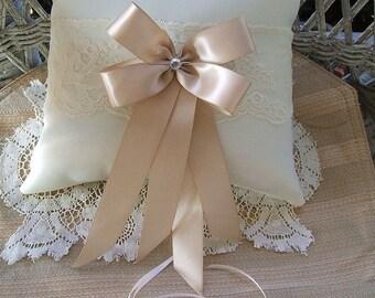 Wedding Pillow~Handmade~RAPTURE~White, or, Ivory, Ring Pillow~Ring Bearer Boy~Choose Bow Color,
