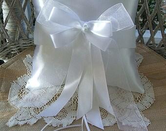 """Wedding  Ring Bearer Pillow in White  Handmade """"RAPSODY"""""""
