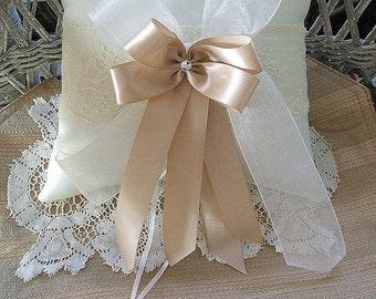 """Wedding  Ring Bearer Pillow in Ivory & Champagne  Handmade """"RAPSODY"""""""