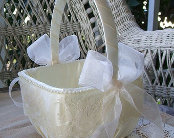 Flower Girl Basket Square Wedding  Handmade ORGANZA Flowergirl White OR IVORY