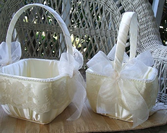 2 Wedding Flowergirl Baskets Square in Ivory  Handmade ORGANZA