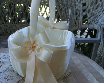 Flower Girl Basket Square Handmade RAPTURE Wedding Flowergirl in Ivory or White