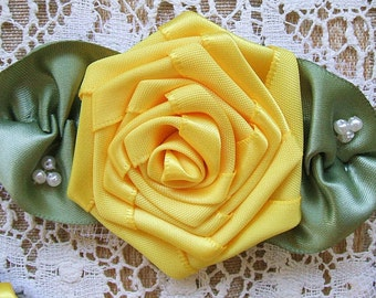 Ribbon Rose Brooch Yellow Handmade