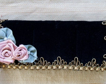 Victorian Black Velvet Jewelry Pouch Handmade with Ribbon Roses