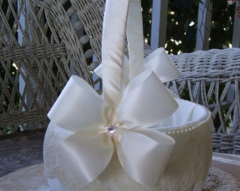 Wedding Flower Girl Basket Handmade Nuance Flowergirl in White or Ivory