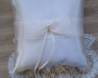 Wedding  Ring Bearer Pillow ESSENCE Available in Ivory or white