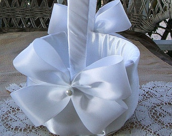 Wedding Flowergirl Basket  in White Handmade Nuance Available in White or Ivory