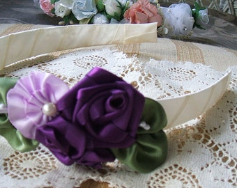 Headband Handmade Ribbon Roses Flowergirl in Cream, Deep Purple, Lavender