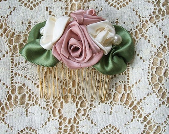Comb Hand Stitched Ribbon Roses & Pearls Cream/Pink Champagne