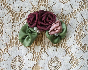 Comb Hand Stitched Ribbon Roses & Pearls Burgundy/Pink Champagne