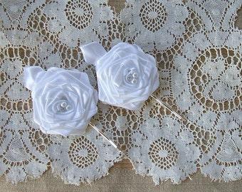 Bobby Pins Victorian Ribbon Roses Handmade 2 - 3inch White  Pearls