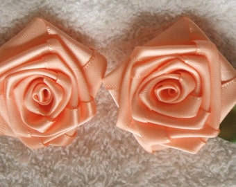 2 LG PEACH 2in. Victorian Ribbon Roses for Boutique Designers