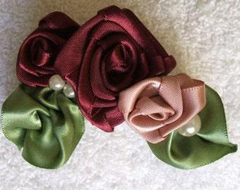 Victorian Hand Stitched Ribbon Rose Cluster Applique Trim Burgundywine Champagne