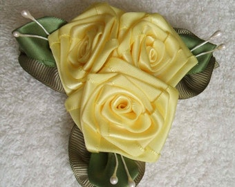 Victorian Hand Stitched Ribbon Rose Cluster Applique YELLOW ROSES