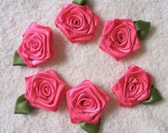 6 LG HOT PINK 2in. Victorian Ribbon Roses for Boutique Designers
