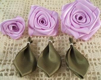 3 Graduating S,M,L Ribbon Rose Appliques for Boutiques,Desingers  Lavender