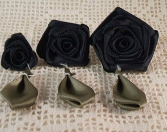 3 Graduating S,M,L Ribbon Rose Appliques for Boutiques,Desingers  Black