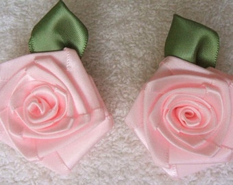 2 LG Baby PINK 2in. Victorian Ribbon Roses for Boutique Designers