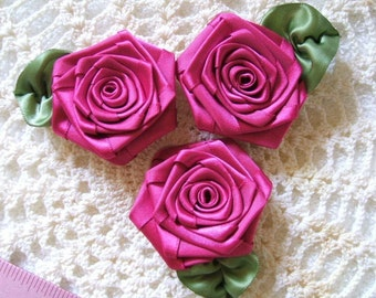 3 XLG Fushia 2-1\/2in. Victorian Ribbon Roses for Boutique Designers
