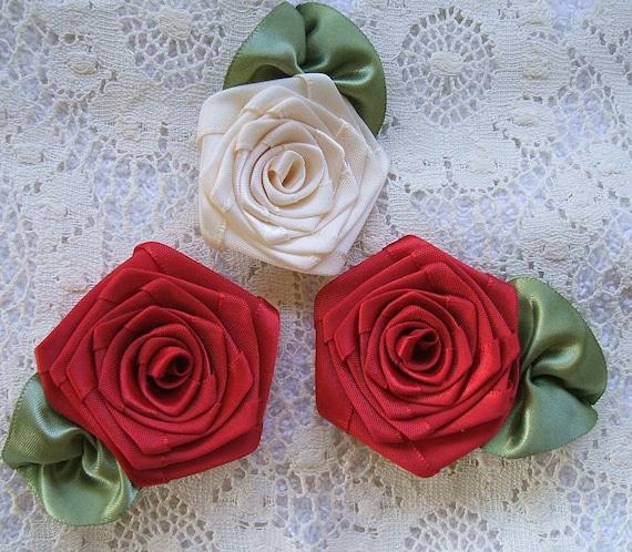 Ribbon Roses, Handmade, XL 2-1/2 inch,Appliques