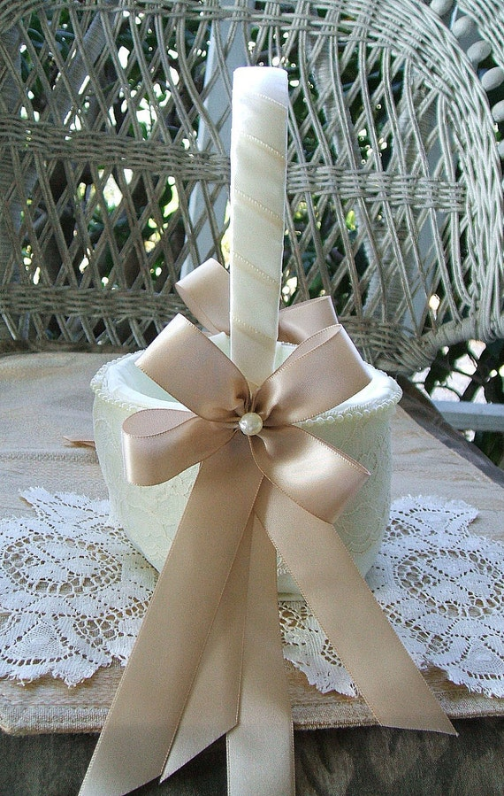 Flowergirl Basket  in Ivory & Champagne Handmade RAPTURE Wedding Available in Ivory or White