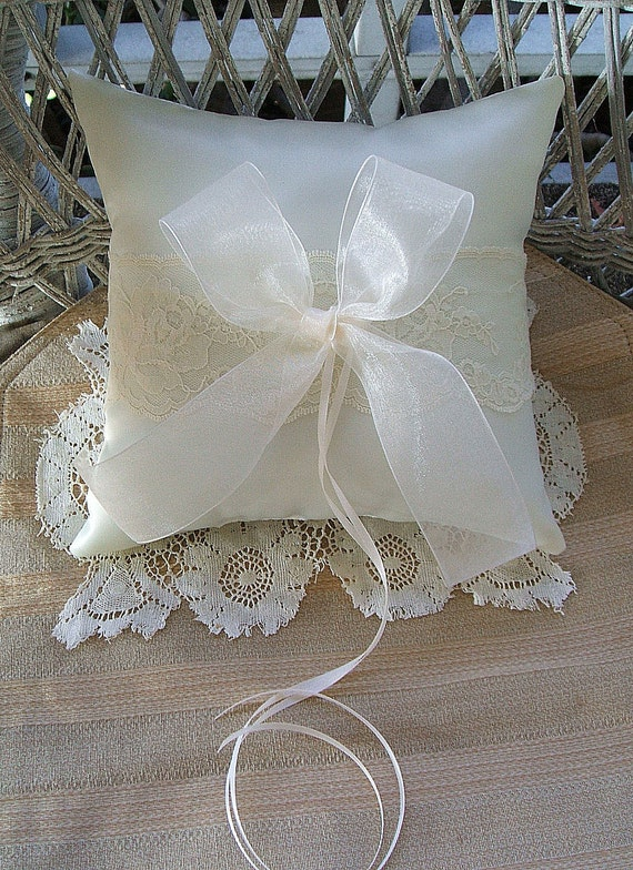 "Wedding  Ring Pillow in Ivory Handmade ""ORGANZA"""