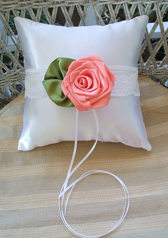 "Ring Bearer Pillow Handmade ""ROSE"" in Coral, Choose White or Ivory Wedding Accessories"