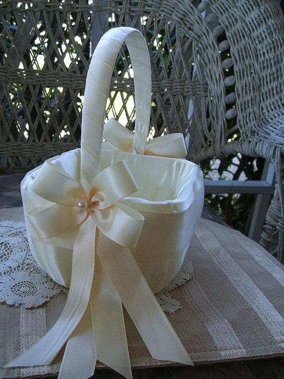 Flower Girl Basket Square Handmade RAPTURE Wedding Flowergirl in Ivory or White