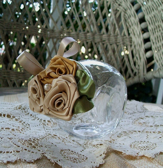 Small Glass Snack Jar/Canister for Favor,Candies,Nuts,Bath Salts, Desk, Champagne & Gold Roses