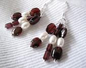 Garnet and Pearl Dangle Earrings