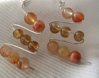 Multi-Gem Stone Sterling Silver Wire Dangle Earrings