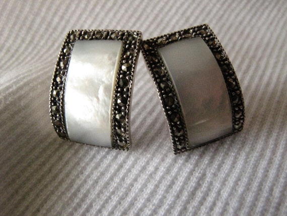 Vintage Mother of Pearl and Marcasite Earrings