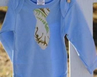 SALE - Organic Long Sleeve Bodysuit / Onesie for Boys - Vintage Style Blue -  Sizes: 3-6 mo, 6-12 mo