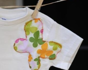 SALE - Organic T-shirt for Girls - Butterfly Bliss - Toddler Sizes: 18-24 months LAST ONE