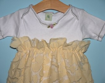 SALE - Yellow Lilly pad Gown, High Waist Dress - Size 6-12 mo