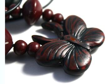 Faux Cinnabar Polymer  Necklace